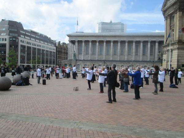 Tai Chi in Victoria Square in Birmingham for world Tai Chi day
