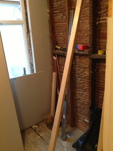 Bathroom with building work being done